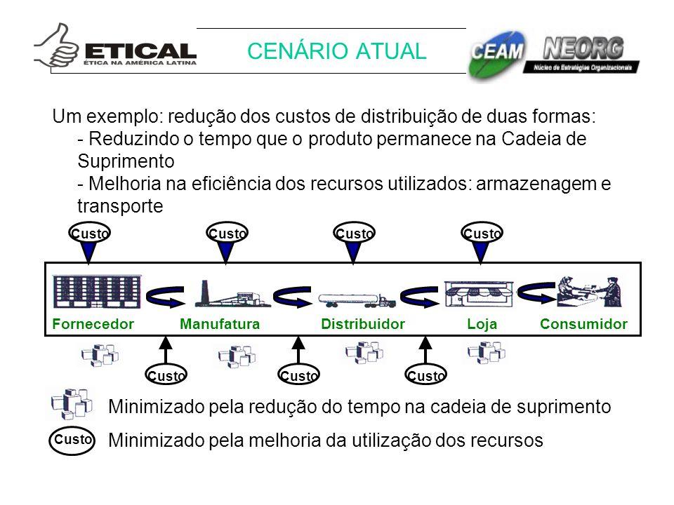 Um exemplo: redução dos custos de distribuição de duas formas: - Reduzindo o tempo que o produto permanece na Cadeia de Suprimento - Melhoria na efici
