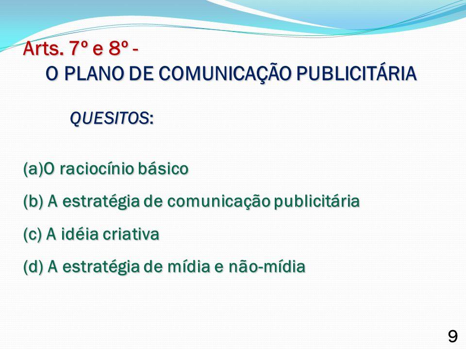 Arts. 7º e 8º - O PLANO DE COMUNICAÇÃO PUBLICITÁRIA QUESITOS: (a)O raciocínio básico (b) A estratégia de comunicação publicitária (c) A idéia criativa