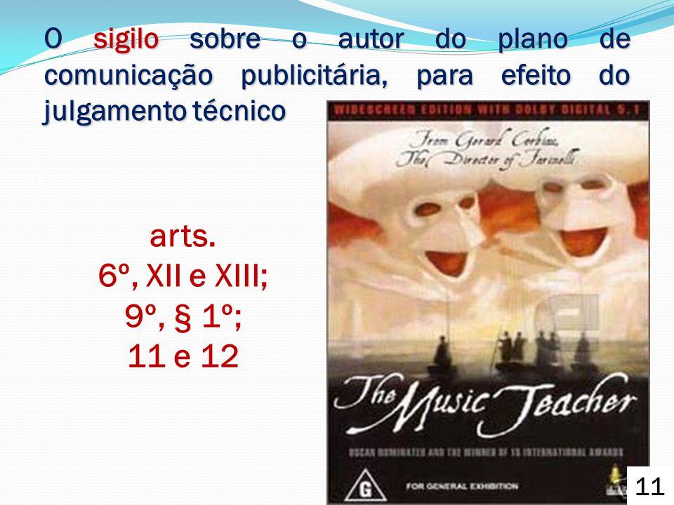 O sigilo sobre o autor do plano de comunicação publicitária, para efeito do julgamento técnico arts. 6º, XII e XIII; 9º, § 1º; 11 e 12 11