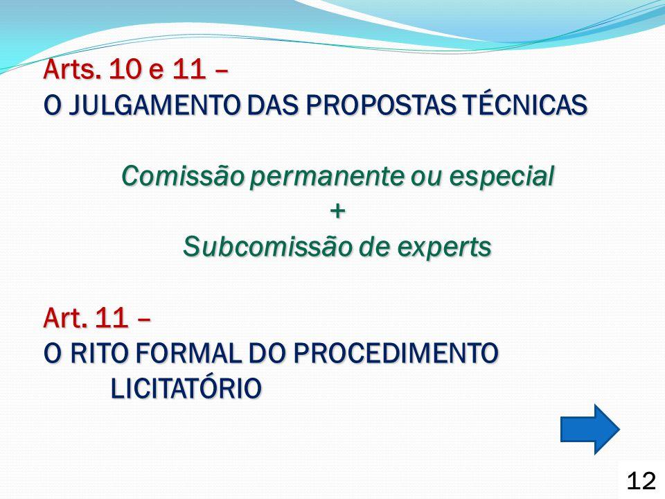 Arts. 10 e 11 – O JULGAMENTO DAS PROPOSTAS TÉCNICAS Comissão permanente ou especial + Subcomissão de experts Art. 11 – O RITO FORMAL DO PROCEDIMENTO L