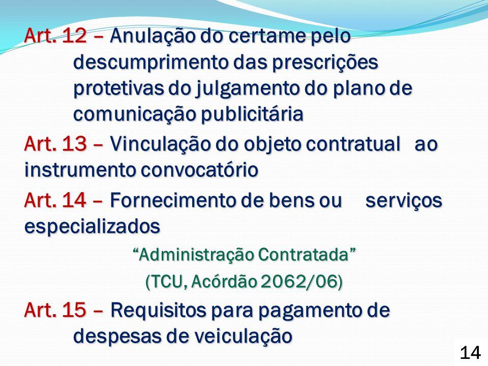 Art. 12 – Anulação do certame pelo descumprimento das prescrições protetivas do julgamento do plano de comunicação publicitária Art. 13 – Vinculação d
