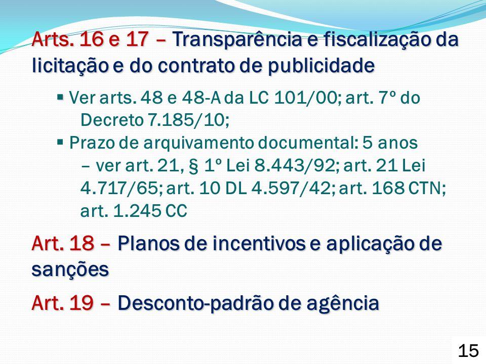 Arts. 16 e 17 – Transparência e fiscalização da licitação e do contrato de publicidade   Ver arts. 48 e 48-A da LC 101/00; art. 7º do Decreto 7.185/