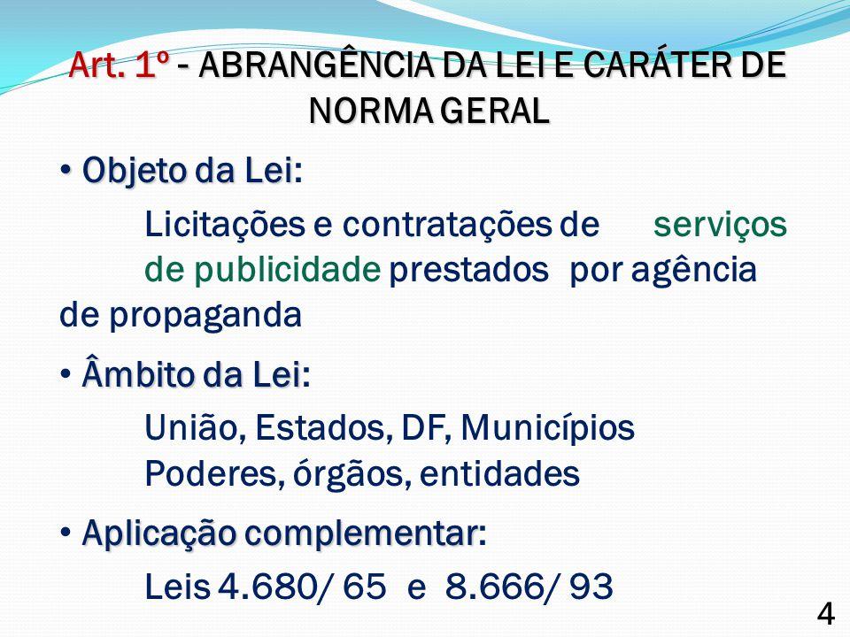 Art. 1º - ABRANGÊNCIA DA LEI E CARÁTER DE NORMA GERAL Objeto da Lei Objeto da Lei: Licitações e contratações de serviços de publicidade prestados por