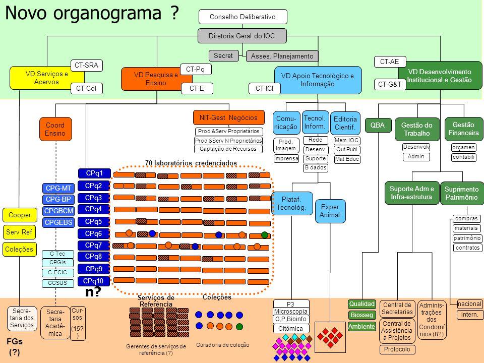 Plataf. Tecnológ. P3 Microscopia G,P,Bioinfo Citômica Novo organograma ? Gestão do Trabalho Desenvolv Admin Gestão Financeira orçamen contabili Exper
