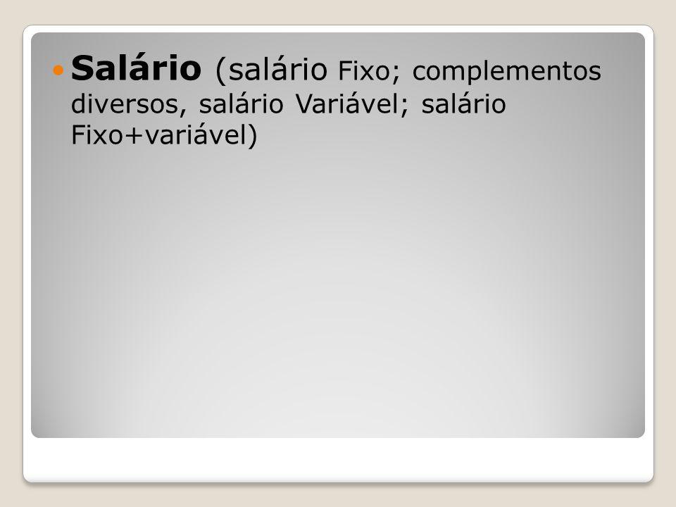 Salário (salário Fixo; complementos diversos, salário Variável; salário Fixo+variável)