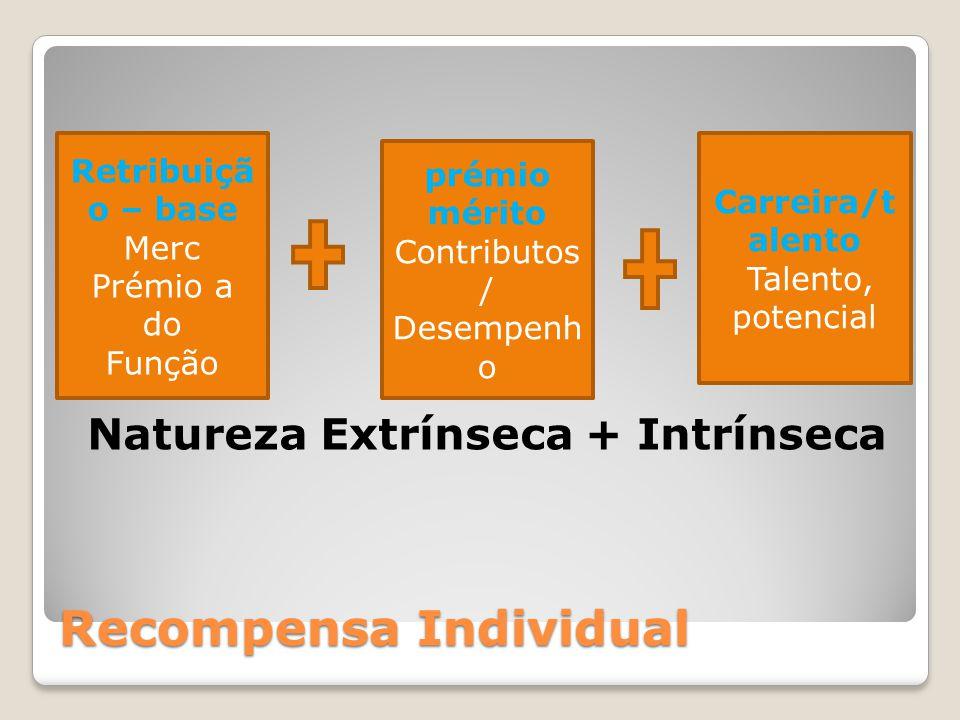 Recompensa Individual Natureza Extrínseca + Intrínseca Retribuiçã o – base Merc Prémio a do Função Carreira/t alento Talento, potencial prémio mérito