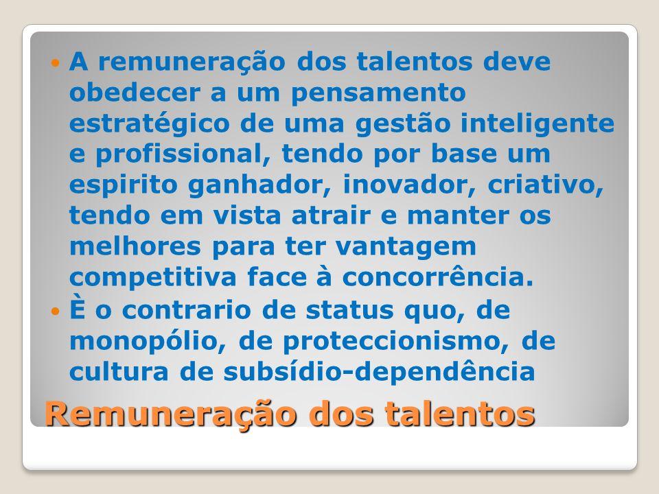 Remuneração dos talentos A remuneração dos talentos deve obedecer a um pensamento estratégico de uma gestão inteligente e profissional, tendo por base