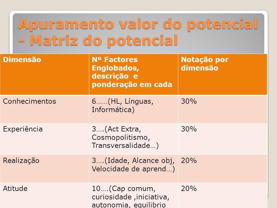 Apuramento valor do potencial - Matriz do potencial DimensãoNº Factores Englobados, descrição e ponderação em cada Notação por dimensão Conhecimentos6