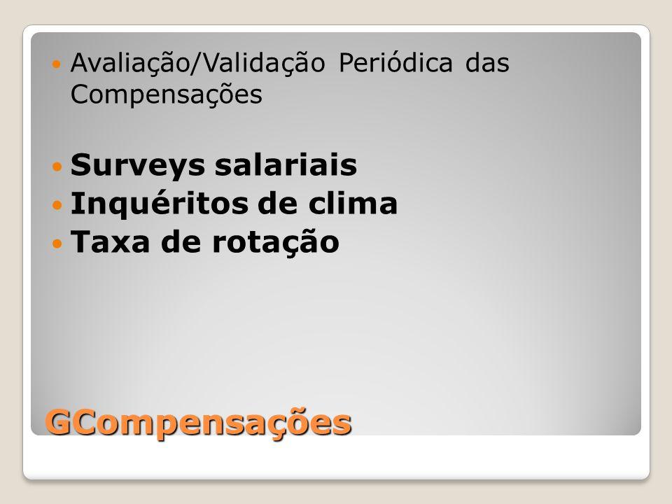 GCompensações Avaliação/Validação Periódica das Compensações Surveys salariais Inquéritos de clima Taxa de rotação