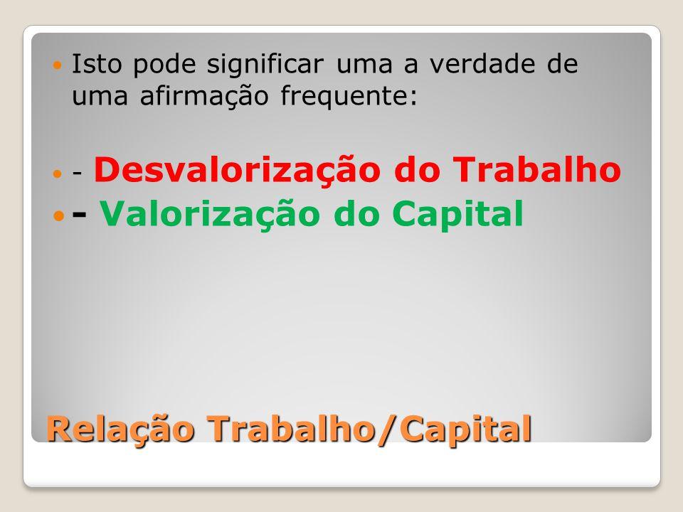 Relação Trabalho/Capital Isto pode significar uma a verdade de uma afirmação frequente: - Desvalorização do Trabalho - Valorização do Capital