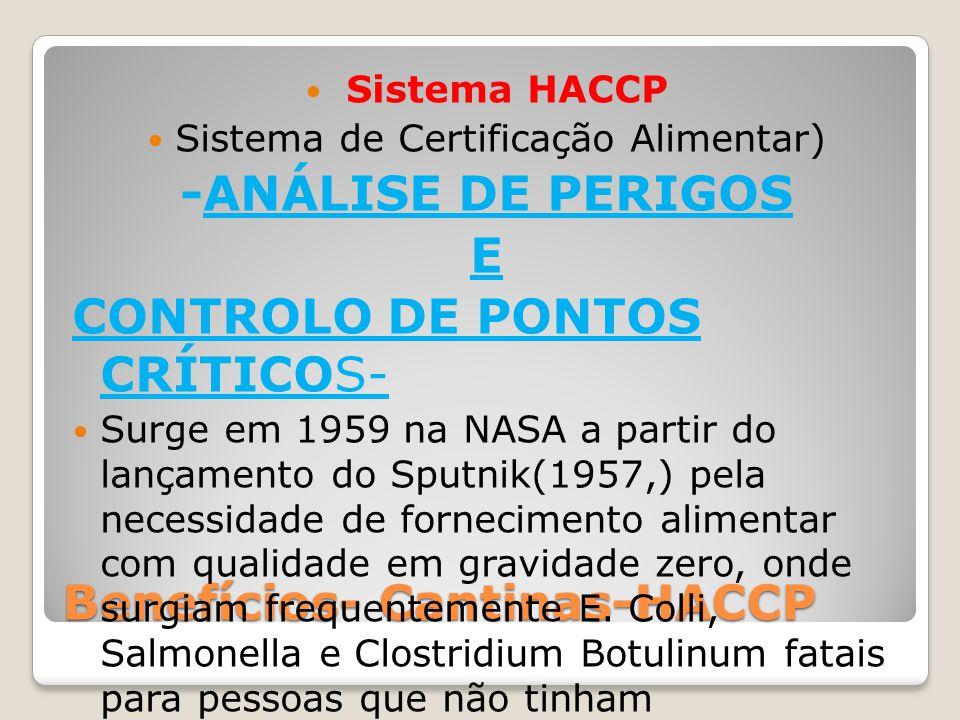 Benefícios- Cantinas-HACCP Sistema HACCP Sistema de Certificação Alimentar) -ANÁLISE DE PERIGOS E CONTROLO DE PONTOS CRÍTICOS- Surge em 1959 na NASA a