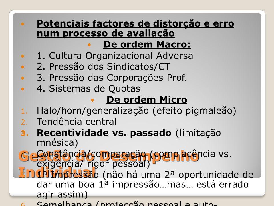 Gestão do Desempenho Individual Potenciais factores de distorção e erro num processo de avaliação De ordem Macro: 1. Cultura Organizacional Adversa 2.