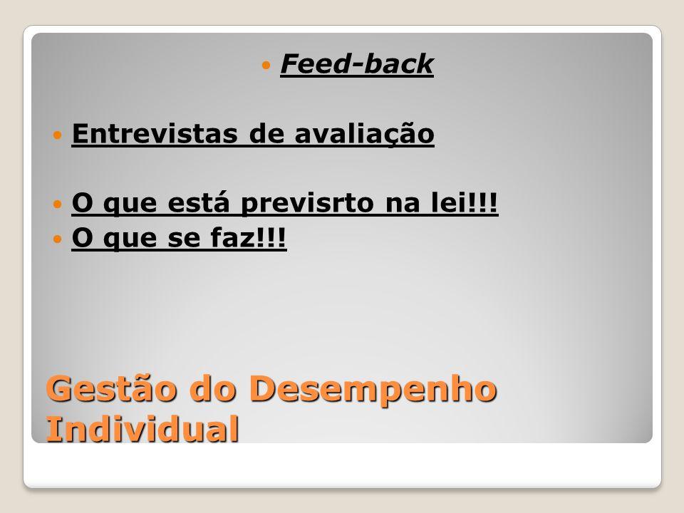 Gestão do Desempenho Individual Feed-back Entrevistas de avaliação O que está previsrto na lei!!! O que se faz!!!
