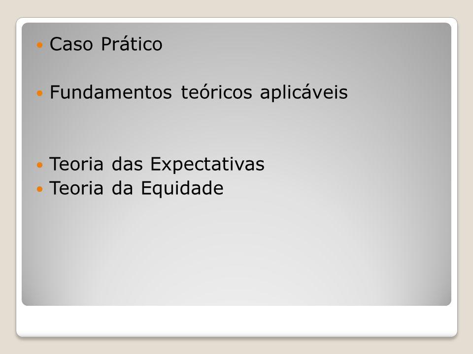 Caso Prático Fundamentos teóricos aplicáveis Teoria das Expectativas Teoria da Equidade