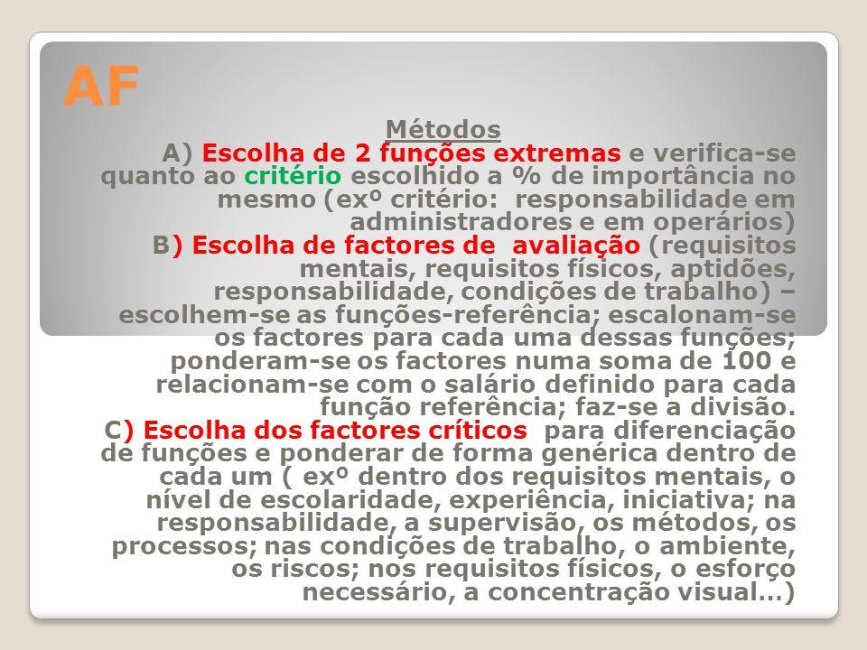 AF Métodos A) Escolha de 2 funções extremas e verifica-se quanto ao critério escolhido a % de importância no mesmo (exº critério: responsabilidade em