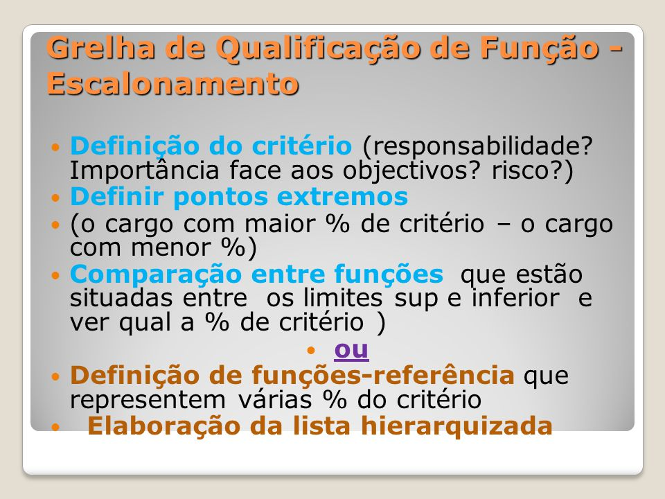 – Método do Escalonamento (JOB RANKING) – Método do Escalonamento (JOB RANKING) Definição do critério (Responsabilidade.