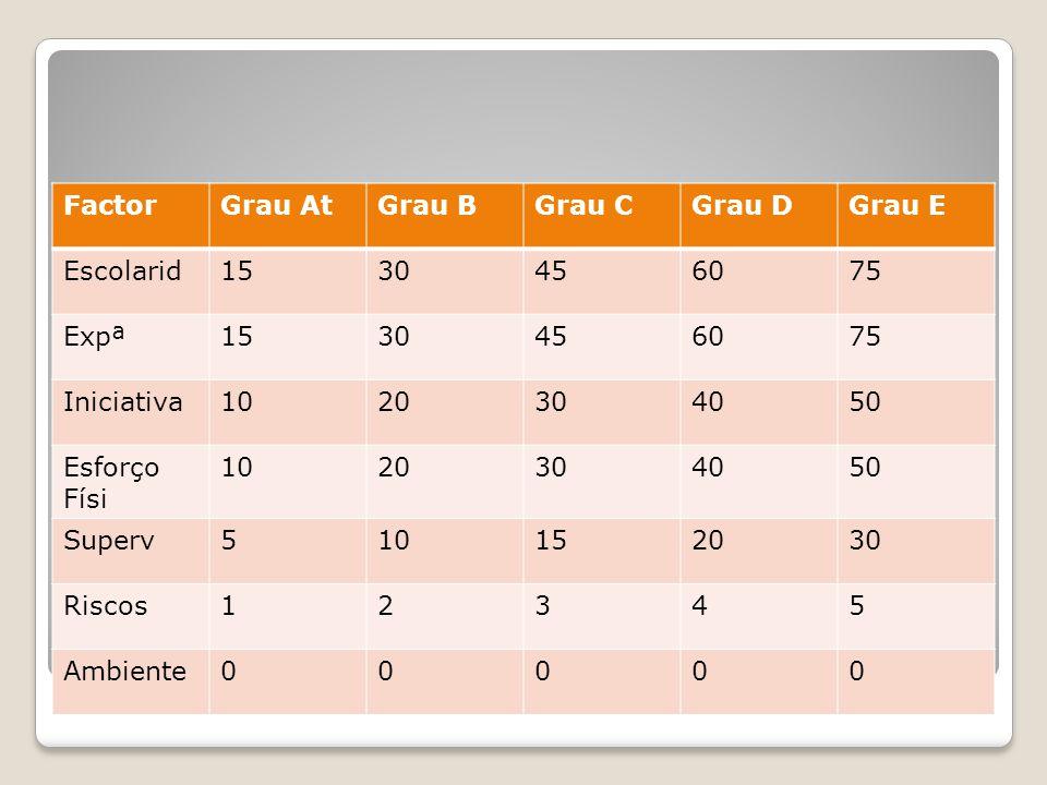 Avaliação pontos(método Hay) Progr Aritmética FactorGrau AtGrau BGrau CGrau DGrau E Escolarid1530456075 Expª1530456075 Iniciativa1020304050 Esforço Fí