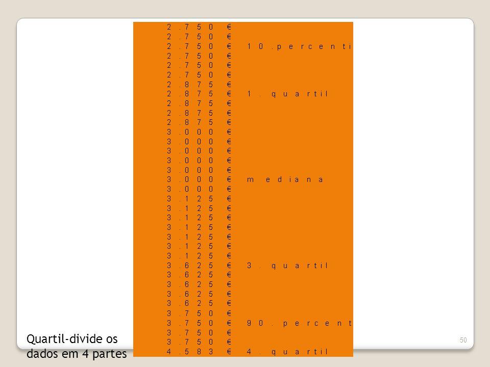50 Quartil-divide os dados em 4 partes