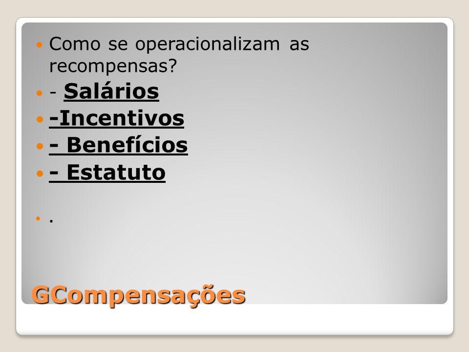 GCompensações Como se operacionalizam as recompensas? - Salários -Incentivos - Benefícios - Estatuto.