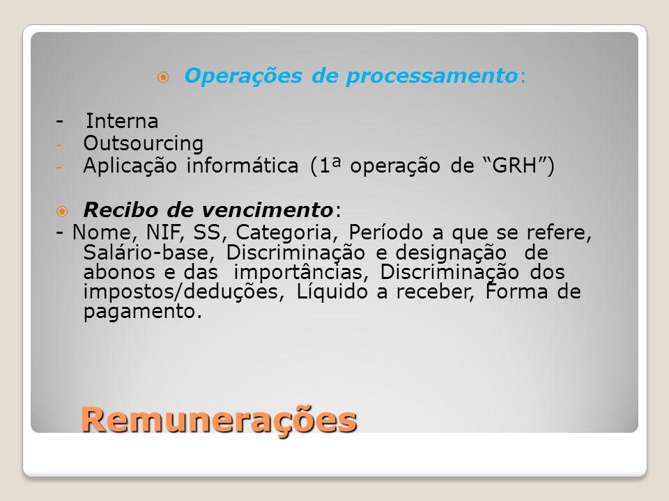"""Remunerações  Operações de processamento: - Interna - Outsourcing - Aplicação informática (1ª operação de """"GRH"""")  Recibo de vencimento: - Nome, NIF,"""