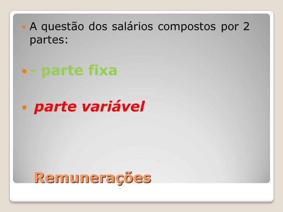 Remunerações A questão dos salários compostos por 2 partes: - parte fixa parte variável