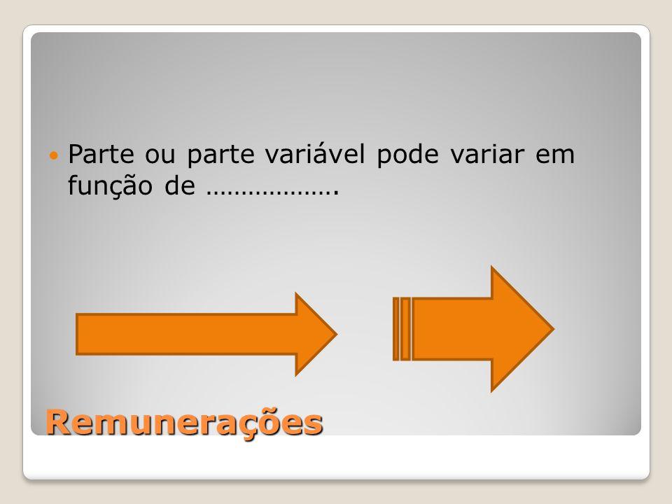 Remunerações Parte ou parte variável pode variar em função de ……………….
