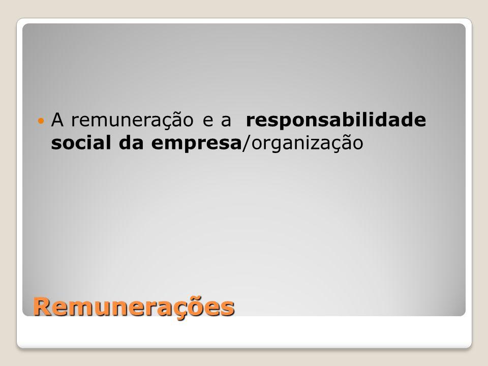 Remunerações A remuneração e a responsabilidade social da empresa/organização