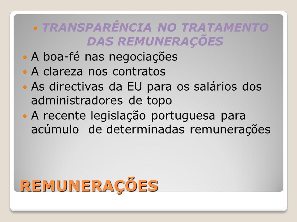REMUNERAÇÕES TRANSPARÊNCIA NO TRATAMENTO DAS REMUNERAÇÕES A boa-fé nas negociações A clareza nos contratos As directivas da EU para os salários dos ad