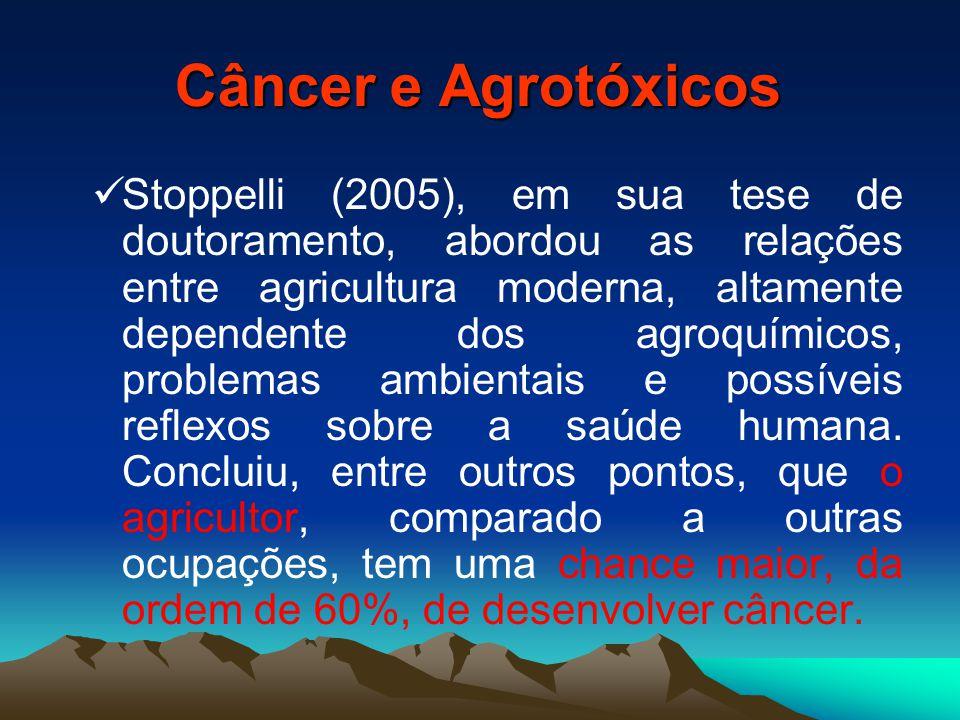 Câncer e Agrotóxicos Stoppelli (2005), em sua tese de doutoramento, abordou as relações entre agricultura moderna, altamente dependente dos agroquímicos, problemas ambientais e possíveis reflexos sobre a saúde humana.