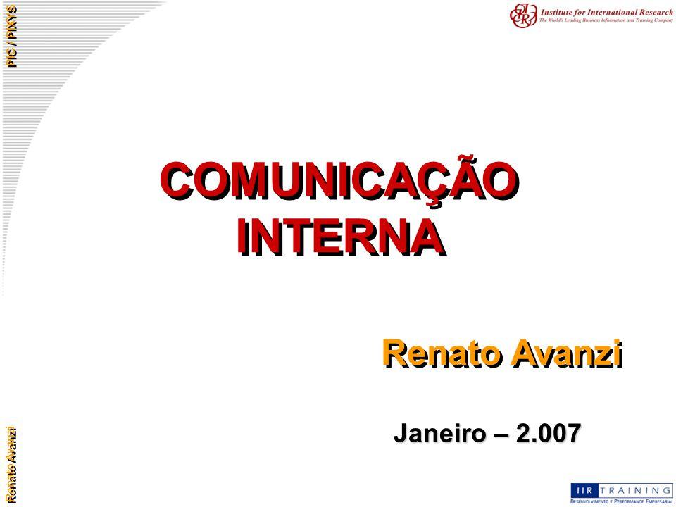 Renato Avanzi PIC / PIXYS Conquista de espaços para a comunicação – convencimento interno Apresentação de sugestões Desenvolvimento de projetos Avaliação de perspectivas Demonstração de lucratividade com a comunicação (sucessos) Demonstração de prejuízos sem a comunicação (insucessos).