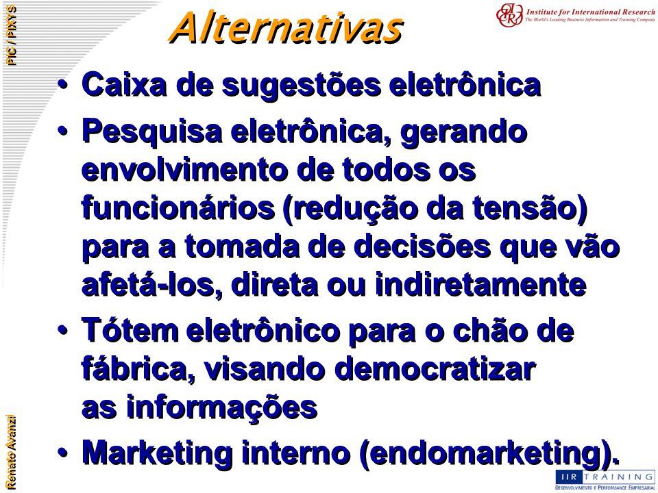Renato Avanzi PIC / PIXYS Caixa de sugestões eletrônica Pesquisa eletrônica, gerando envolvimento de todos os funcionários (redução da tensão) para a