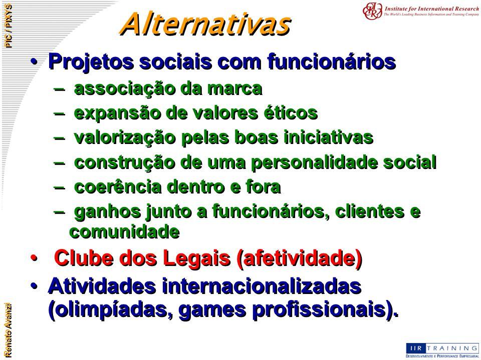 Renato Avanzi PIC / PIXYS Projetos sociais com funcionários – associação da marca – expansão de valores éticos – valorização pelas boas iniciativas –