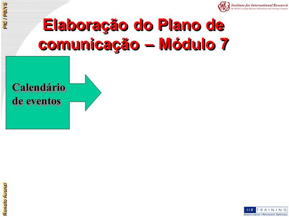 Renato Avanzi PIC / PIXYS Elaboração do Plano de comunicação – Módulo 7 Calendário de eventos