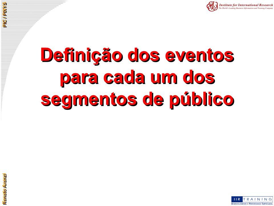 Renato Avanzi PIC / PIXYS Definição dos eventos para cada um dos segmentos de público