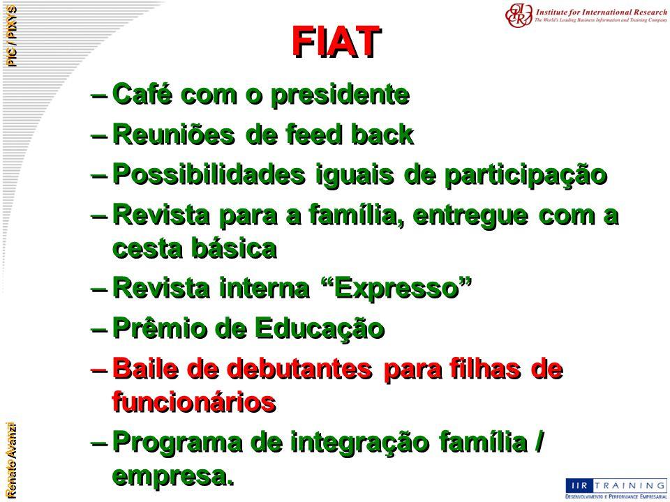 Renato Avanzi PIC / PIXYS FIAT –Café com o presidente –Reuniões de feed back –Possibilidades iguais de participação –Revista para a família, entregue