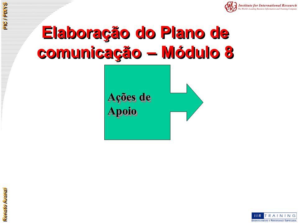 Renato Avanzi PIC / PIXYS Elaboração do Plano de comunicação – Módulo 8 Ações de Apoio