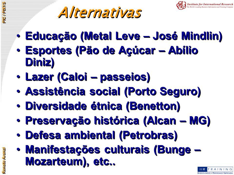 Renato Avanzi PIC / PIXYS Educação (Metal Leve – José Mindlin) Esportes (Pão de Açúcar – Abílio Diniz) Lazer (Caloi – passeios) Assistência social (Po