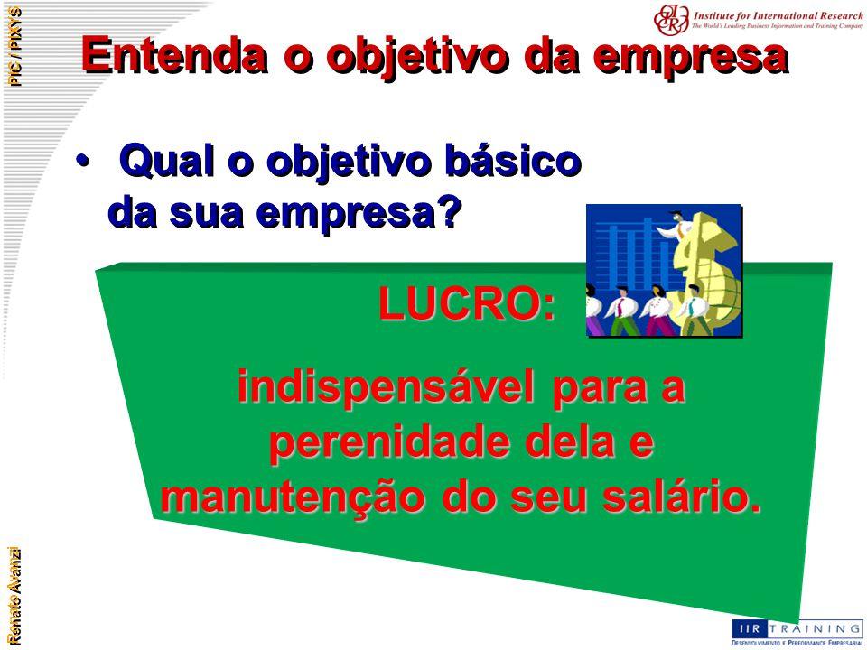 Renato Avanzi PIC / PIXYS Entenda o objetivo da empresa Qual o objetivo básico da sua empresa? LUCRO: indispensável para a perenidade dela e manutençã