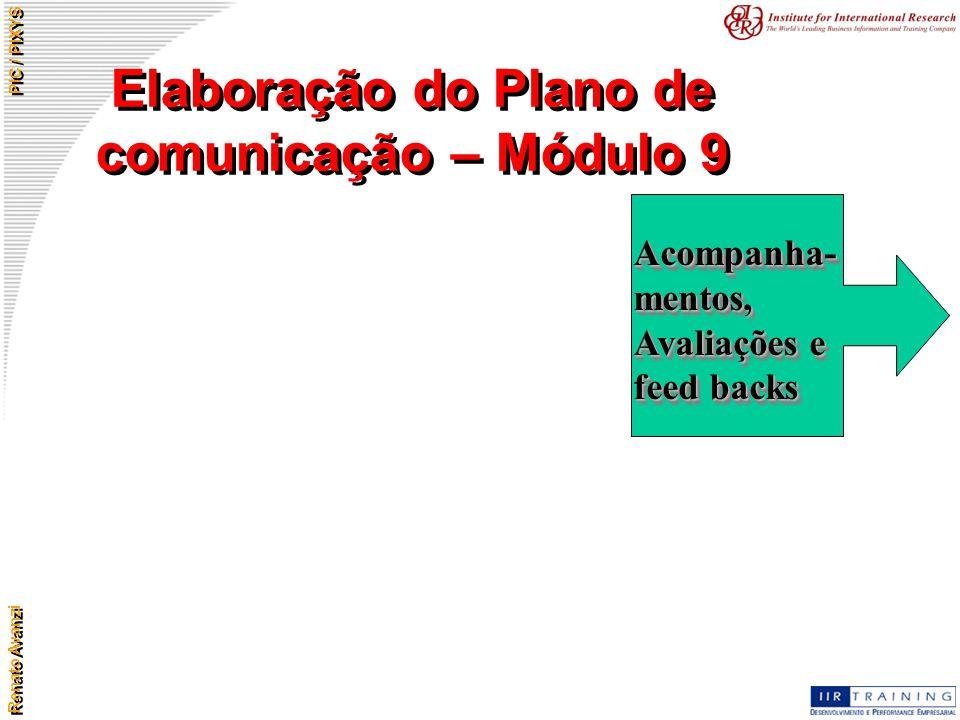 Renato Avanzi PIC / PIXYS Elaboração do Plano de comunicação – Módulo 9 Acompanha- mentos, Avaliações e feed backs