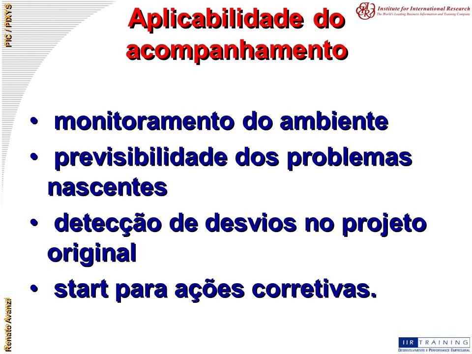 Renato Avanzi PIC / PIXYS Aplicabilidade do acompanhamento monitoramento do ambiente previsibilidade dos problemas nascentes detecção de desvios no pr