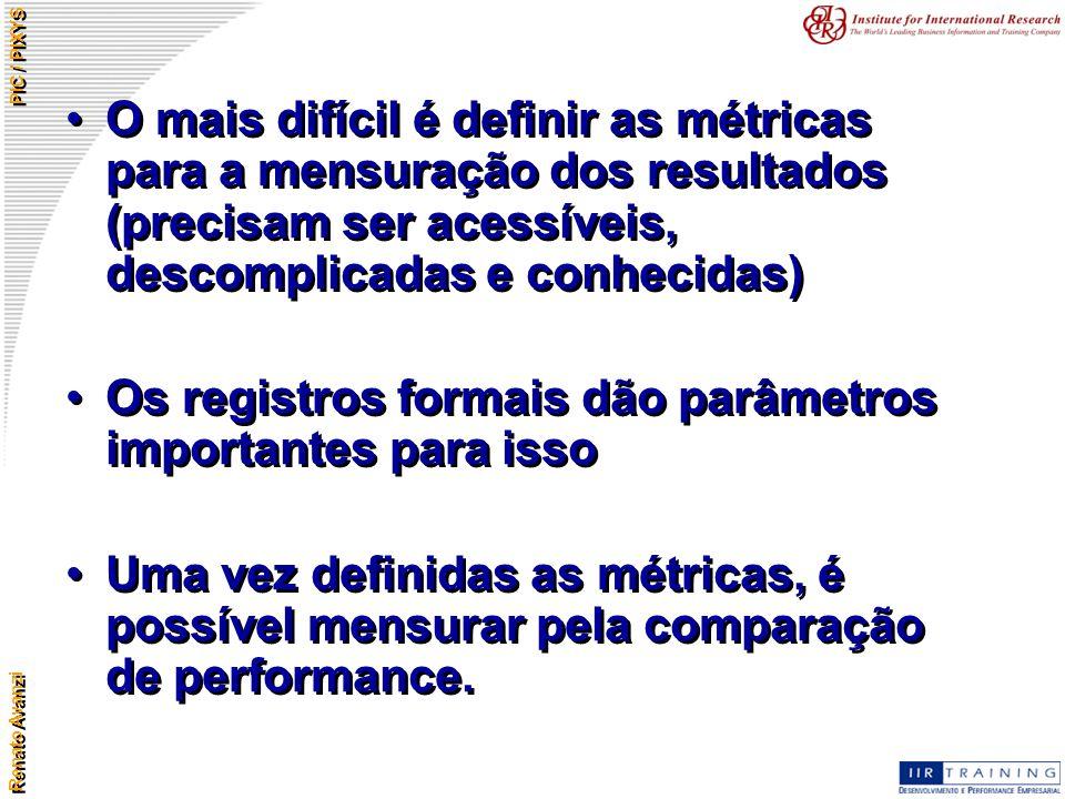 Renato Avanzi PIC / PIXYS O mais difícil é definir as métricas para a mensuração dos resultados (precisam ser acessíveis, descomplicadas e conhecidas)