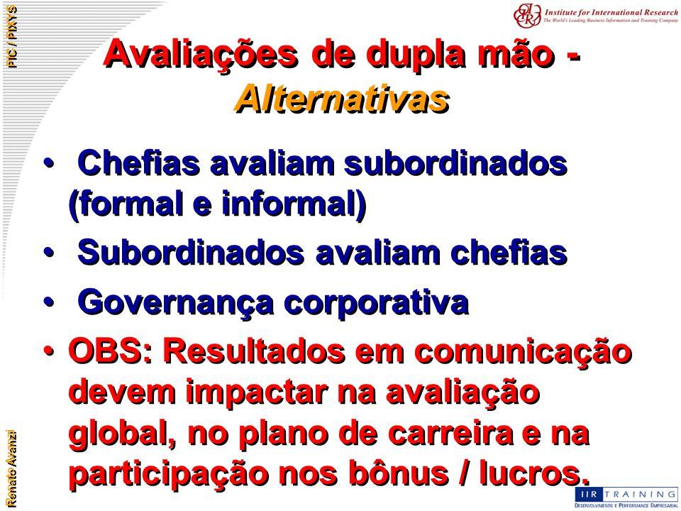 Renato Avanzi PIC / PIXYS Avaliações de dupla mão - Alternativas Chefias avaliam subordinados (formal e informal) Subordinados avaliam chefias Governa