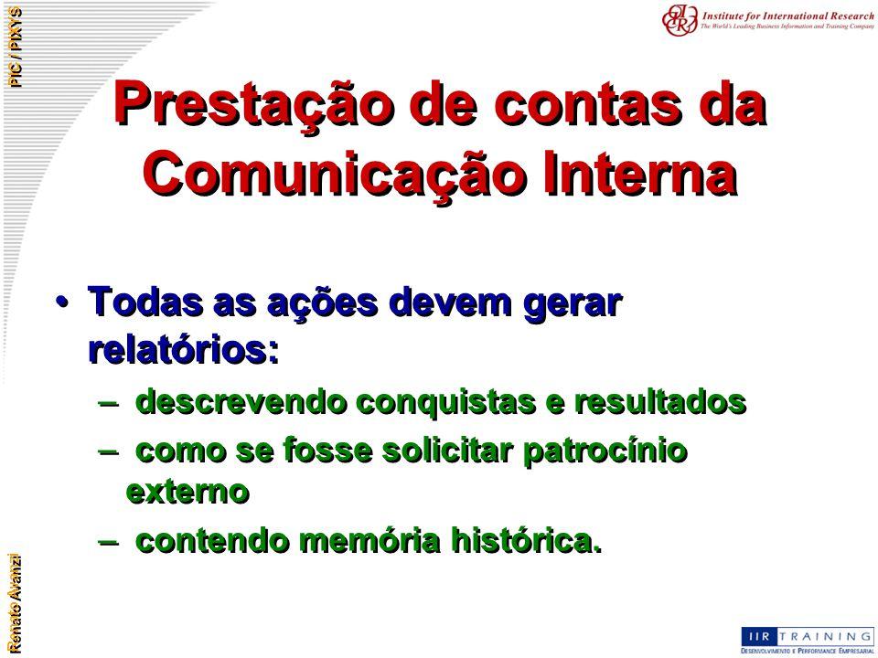 Renato Avanzi PIC / PIXYS Prestação de contas da Comunicação Interna Todas as ações devem gerar relatórios: – descrevendo conquistas e resultados – co