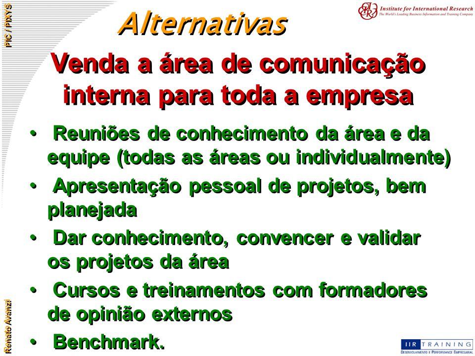 Renato Avanzi PIC / PIXYS Venda a área de comunicação interna para toda a empresa Reuniões de conhecimento da área e da equipe (todas as áreas ou indi