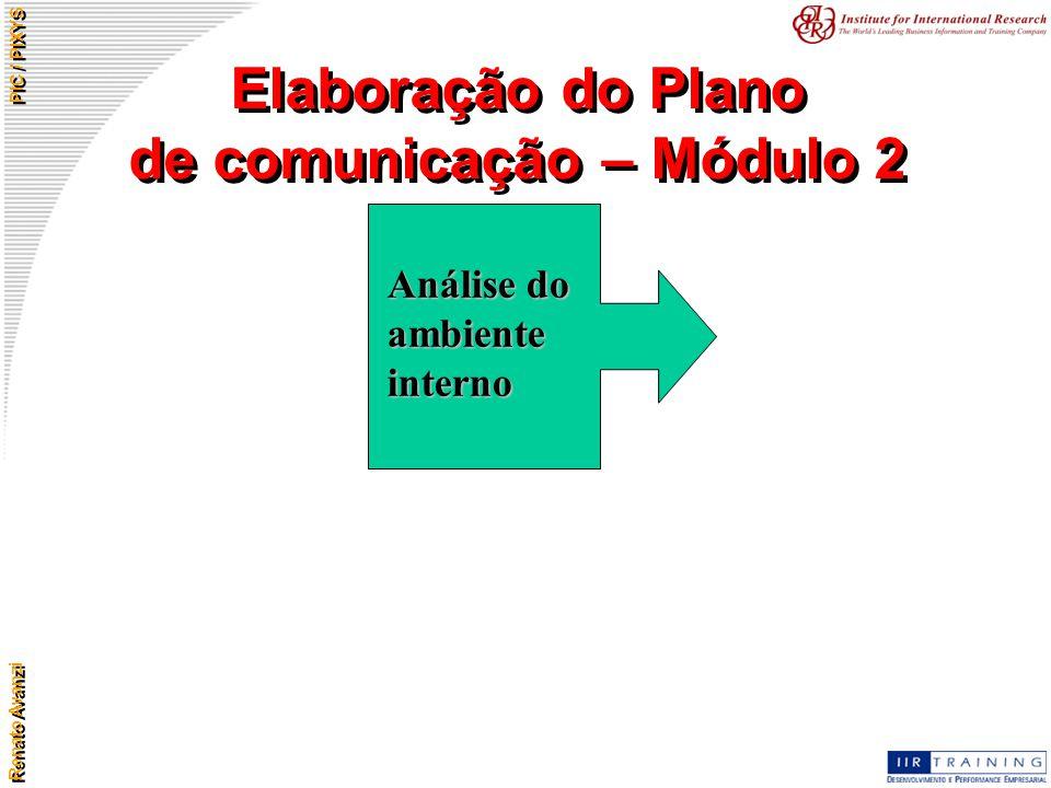 Renato Avanzi PIC / PIXYS Elaboração do Plano de comunicação – Módulo 2 Análise do ambiente interno
