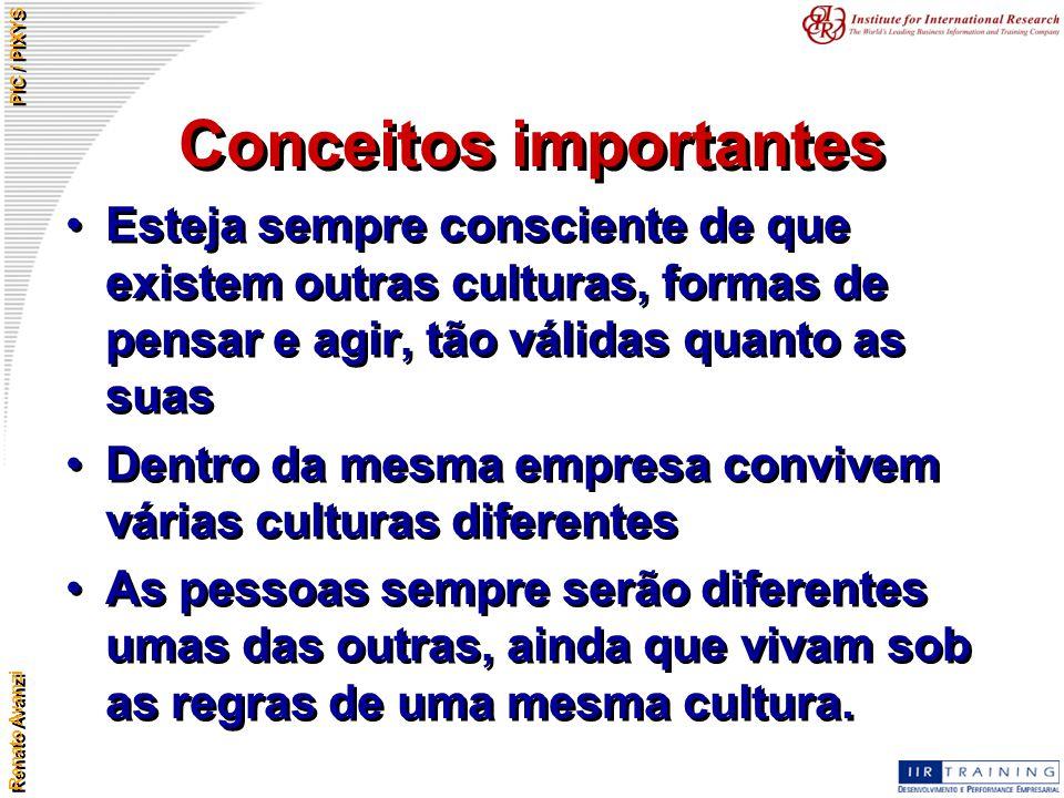 Renato Avanzi PIC / PIXYS Conceitos importantes Esteja sempre consciente de que existem outras culturas, formas de pensar e agir, tão válidas quanto a
