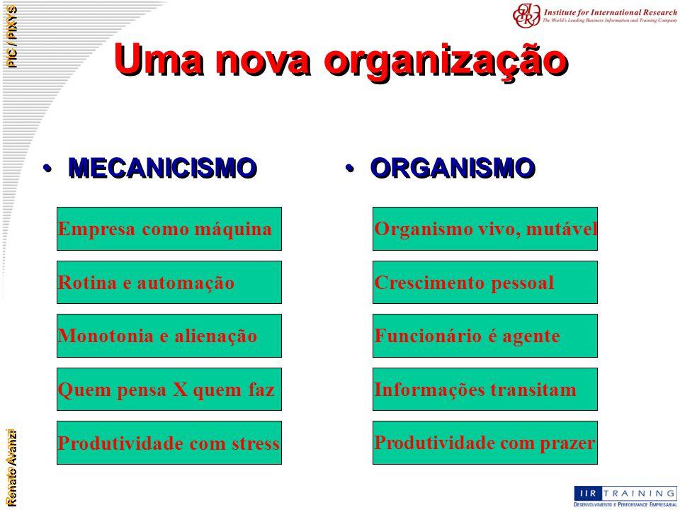Renato Avanzi PIC / PIXYS Uma nova organização MECANICISMO ORGANISMO Empresa como máquina Rotina e automação Monotonia e alienação Quem pensa X quem f