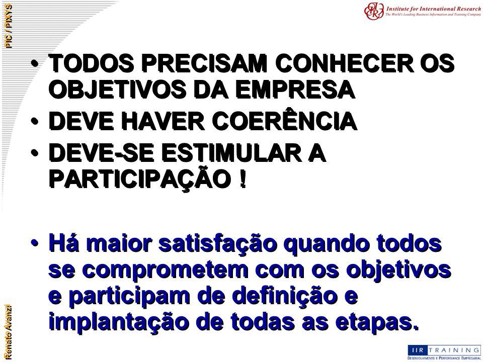 Renato Avanzi PIC / PIXYS TODOS PRECISAM CONHECER OS OBJETIVOS DA EMPRESA DEVE HAVER COERÊNCIA DEVE-SE ESTIMULAR A PARTICIPAÇÃO ! Há maior satisfação