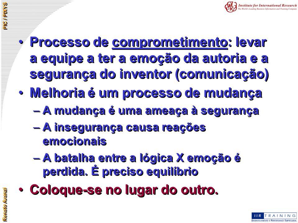 Renato Avanzi PIC / PIXYS Processo de comprometimento: levar a equipe a ter a emoção da autoria e a segurança do inventor (comunicação) Melhoria é um