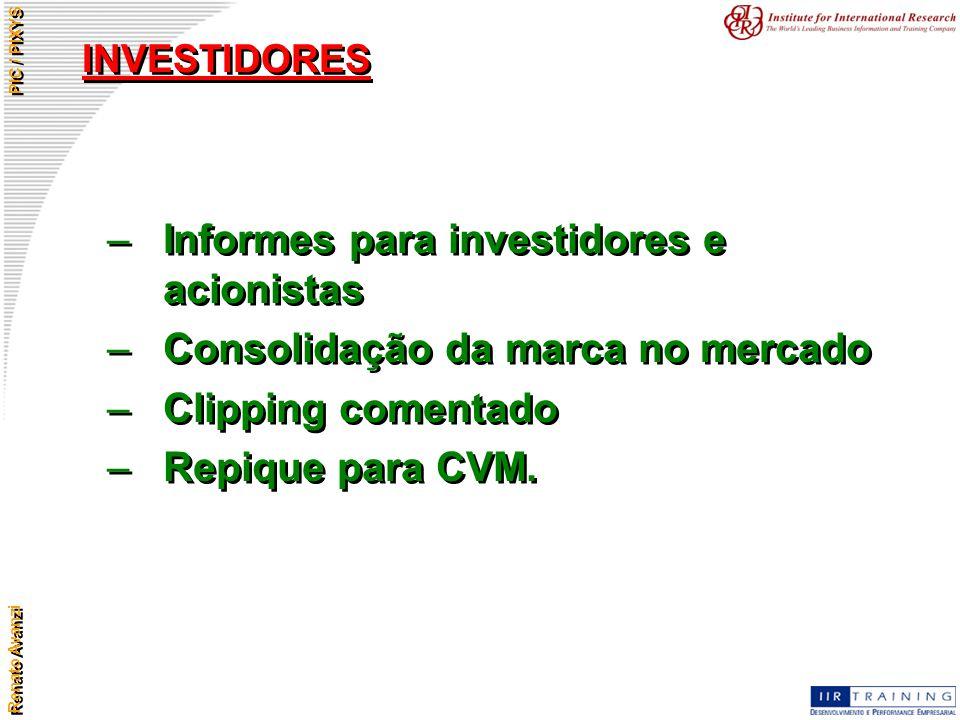 Renato Avanzi PIC / PIXYS INVESTIDORES –Informes para investidores e acionistas –Consolidação da marca no mercado –Clipping comentado –Repique para CV